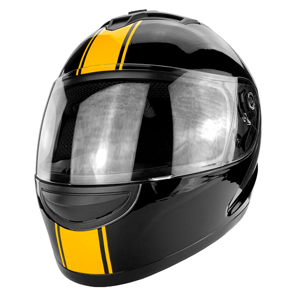 Full Face Motorcycle Helmet With Flip Up Visor Gloss Black Orange Stripe DOT