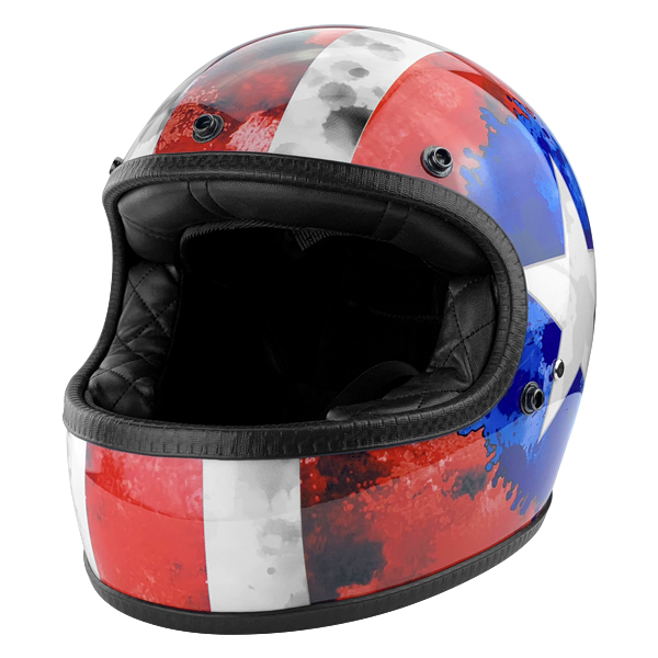 Full Face Vintage Style Fiberglass DOT Motorcycle Helmet Gloss Red American Flag