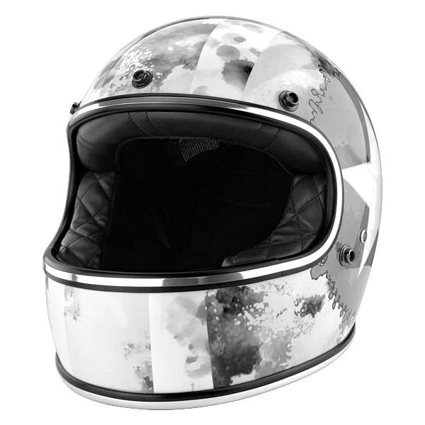 Full Face Vintage Style Fiberglass DOT Motorcycle Helmet Gloss White