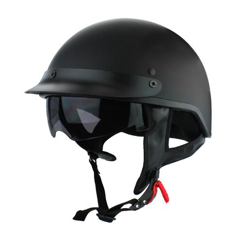 Beanie Cruiser DOT Motorcycle Half Helmet Matte Black with Flip Up Visor