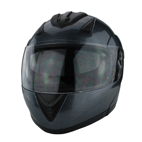 Full Face Modular Motorcycle Helmet With Dual Visor DOT Approved Carbon Fiber Finish