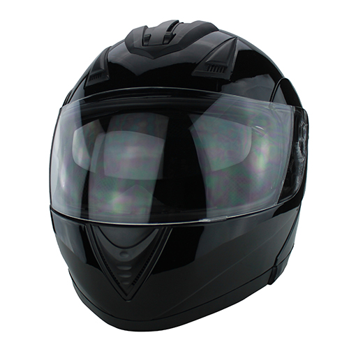 Full Face Modular Motorcycle Helmet With Dual Visor DOT Approved Gloss Black