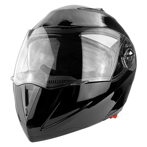 Full Face Motorcycle Helmet With Flip Up Double Visor Gloss Black