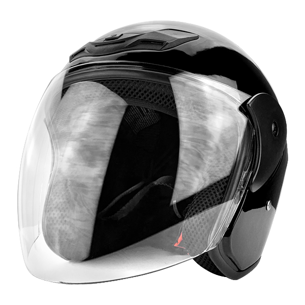 Gloss Black Open Face Motorcycle Helmet with Flip Up Face Shield DOT Approved